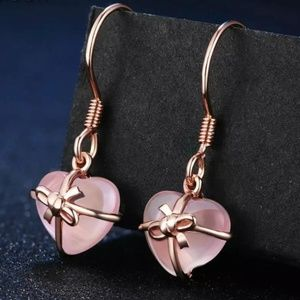Cute Heart and Bow Natural Rose Quartz Earrings